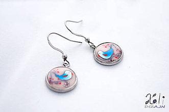 Náušnice - Vtáčik v modrom šate - náušnice - 7429139_