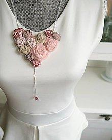 Náhrdelníky - Romantický srdcový náhrdelník - ruže - 7426951_