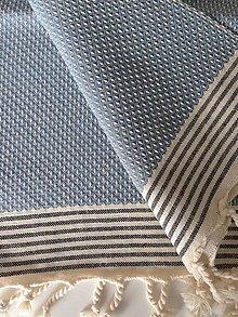 Úžitkový textil - Samostatná Fouta/Uterák « Oko jarabice » čierne pruhy - 7428638_