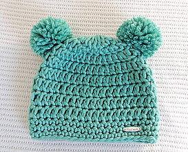 Detské čiapky - Mätový macko čiapka - 7429303_