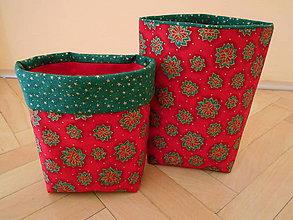 Dekorácie - Vianočné košíky červené - 7432889_