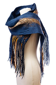 Šály - Dámsky vlnený šál z Merino vlny, ručne plstený, modrý, jemný, zimný šál, šál z plsti, nunoplstený šál - 7431753_