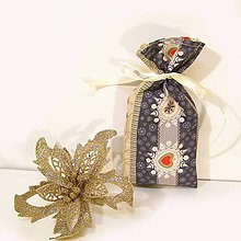 Úžitkový textil - Vianočné darčekové vrecúško - 7430759_