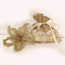 Úžitkový textil - Vianočné darčekové vrecúško - 7430800_