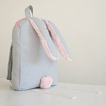 Detské tašky - RUKSAK zajačik od 2,5r. sivo - ružový - 7433042_