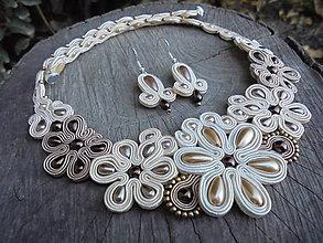 Sady šperkov - Soutache set Elizabeth hnedý s menšími kvietkami - 7432026_