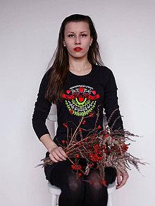 Šaty - Tričkošaty Black folk (dlhý rukáv) - 7429922_