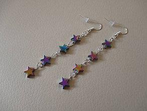 Náušnice - Farebné náušnice - hviezdičky - bižutérny kov - 7430252_