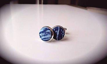 Šperky - Manžetové gombíky - modrotlač - 7434362_