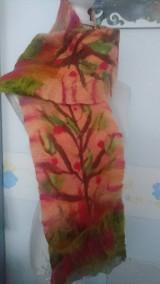 Šály - Plstenie,  šálik strom s jabĺčkami - 7429845_