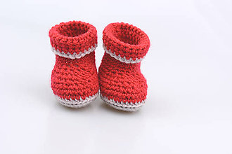 Topánočky - Červeno-béžové papučky zimné FINE - 7434095_