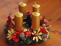 - Zlato - červený adventný veniec s ratanovými hviezdami - 7429596_