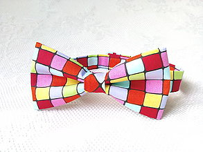 Detské doplnky - Bow tie for kids (neon cubes) - 7436840_