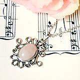 Romantic Antique Silver Rose Quartz Necklace / Romantický náhrdelník s ruženínom