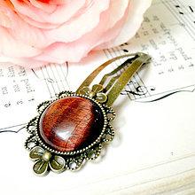 Ozdoby do vlasov - Vintage Flower Red Tiger Eye Hair Clip / Veľká vintage sponka s červeným tigrím okom - 7435181_