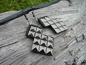 Náušnice - Náušnice ROCK pyramid ANTRACIT - 7438082_