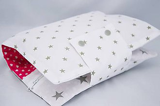 Detské doplnky - Organizér na plienky sivé hviezdičky s cyklamenovými srdiečkami - 7436310_