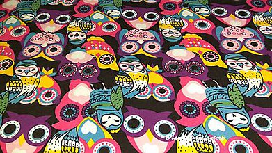 Textil - Úplet Sovy - cena za 10 cm - 7439485_