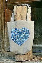 Nákupné tašky - Taška Srdiečko modré - 7438044_