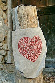 Nákupné tašky - Ľanová taška Srdiečko, ručne maľovaná (červená) - 7438032_