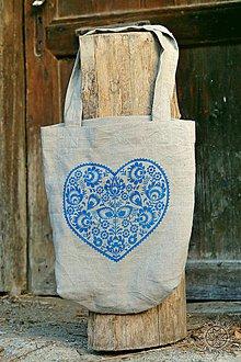 Nákupné tašky - Ľanová taška Srdiečko, ručne maľovaná - 7438044_