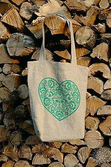 Nákupné tašky - Ľanová taška Srdiečko, ručne maľovaná (svetlozelená) - 7438074_