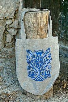 Nákupné tašky - Ľanová taška Strom života, ručne maľovaná (modrá) - 7438109_