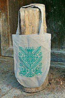 Nákupné tašky - Ľanová taška Strom života, ručne maľovaná (svetlozelená) - 7438113_