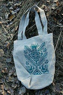 Nákupné tašky - Ľanová taška Strom života, ručne maľovaná (zelená) - 7438128_