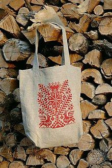 Nákupné tašky - Ľanová taška Strom života, ručne maľovaná - 7438134_