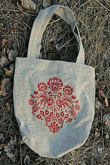 Nákupné tašky - Ľanová taška Kohútiky, ručne maľovaná - 7438156_