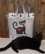 - Nákupná taška - čierna mačička - 7439842_
