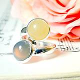Harmony of Gemstones Ring - Grey Agate & Yellow Aventurine / Prsteň Harmónia minerálov - šedý achát a žltý aventurín