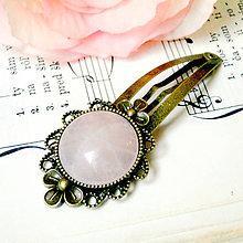 Ozdoby do vlasov - Vintage Flower Rose Quartz Hair Clip / Veľká vintage sponka s ruženínom - 7441847_