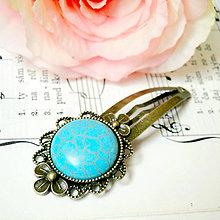 Ozdoby do vlasov - Vintage Flower Tyrkenite Hair Clip / Veľká vintage sponka s tyrkenitom - 7445480_