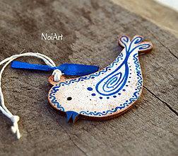 Dekorácie - Vianočná ozdoba Vtáčik vlnkovaný modrý - 7446705_