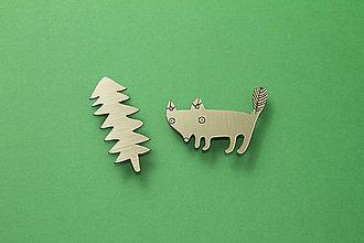 Odznaky/Brošne - Zlatá líška sa stromom dvoj-brošňa - 7441942_