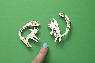 Odznaky/Brošne - Zlaté veveričky - dvoj brošňa - 7442365_