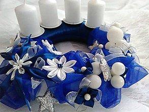 Dekorácie - Modrý adventný veniec na objednávku - 7445956_