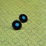 Náušnice - Black&Neon n.5 - Vyšívané náušnice - 7444402_