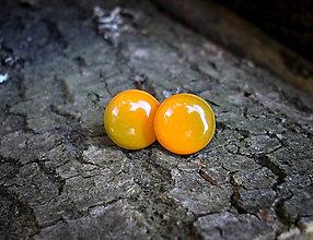 Náušnice - Krúžky 12 mm dúhové (oranžovo-zelenkasté) - 7443821_