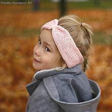 Čiapky - BABY PINK  Pletená vlnená merino čelenka - 7441406_