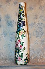 Nádoby - Darčeková fľaša Fialky a divé ruže - 7445693_
