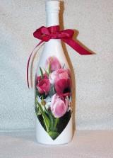 Nádoby - Darčeková fľaša Tulipány - 7445744_