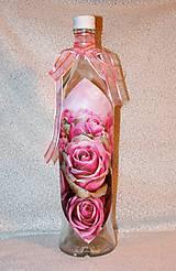 Nádoby - Darčeková fľaša Ružové ruže - 7445862_