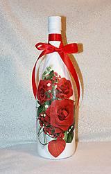 Nádoby - Darčeková fľaša Červené ruže - 7445900_