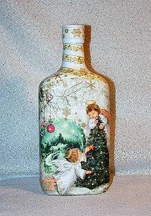 Nádoby - Vianočná fľaša Zdobenie vianočného stromčeka - 7446490_