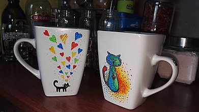 Nádoby - Ručne maľovaný hrnček a mačičkou - 7444475_