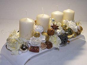 Svietidlá a sviečky - Adventný svietnik_ Smotanovozlatý_ ikebana_III. - 7451985_