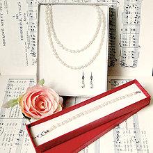 Sady šperkov - Natural Freshwater Oval Pearls Wedding Set (Stainless Steel) / Slávnostný set so sladkovodnými perlami (chirurgická oceľ) - 7450874_